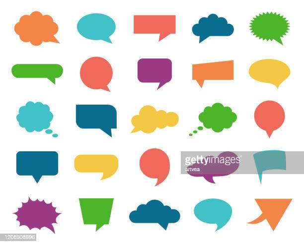 color speech bubble icons set - thought bubble stock illustrations
