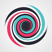 color spiral swirl with brush in flat style vector illustration
