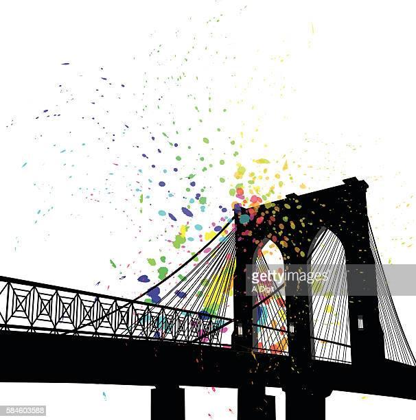ilustraciones, imágenes clip art, dibujos animados e iconos de stock de color splatt cable bridge in new york - puente colgante