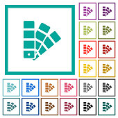 Color swatch flat color icons with quadrant frames