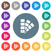Color swatch flat white icons on round color backgrounds