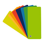 Color swatch, guide. Vector colorful icon, flat design. Catalog, palette