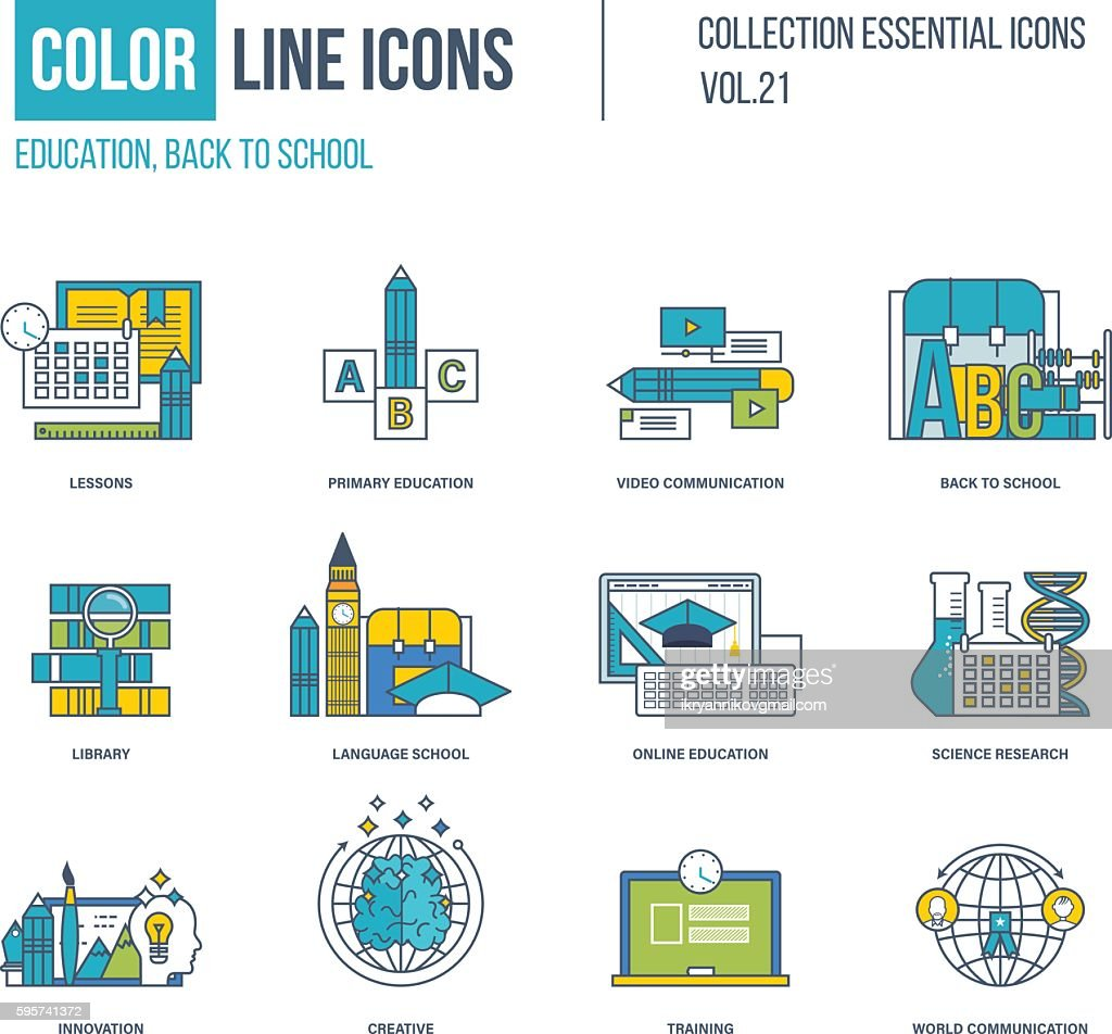 Color thin Line icons set. Primary education, back to school