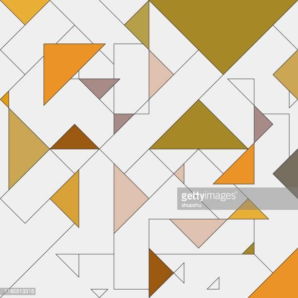 線スタイルの幾何学的パターンの背景を持つ色の三角形 - 三角形点のイラスト素材/クリップアート素材/マンガ素材/アイコン素材
