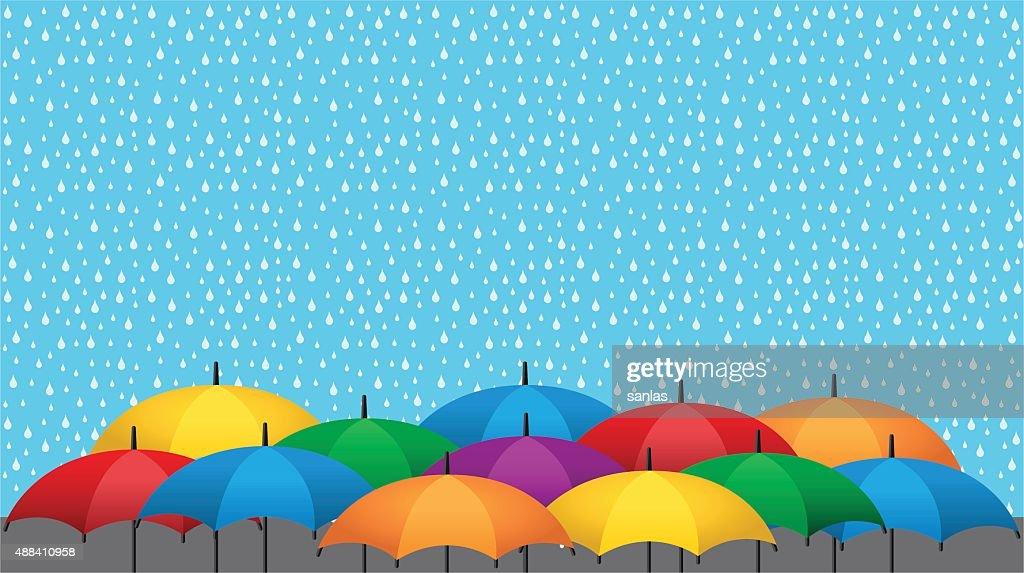 Color umbrellas and rain