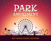 Color vector background of amusement park. Poster design with place for your text