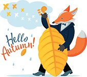 Color vector drawing of cute cartoon smiling dog-fox in suit playing on an autumn leaf, as on double bass, isolated on background of cloud, birds flying to the south,  rain and text - Hello, Autumn!