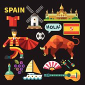 Color vector flat icon set and illustrations Spain
