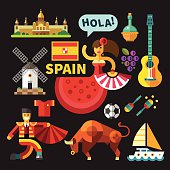 Color vector flat icon set,  illustrations Spain