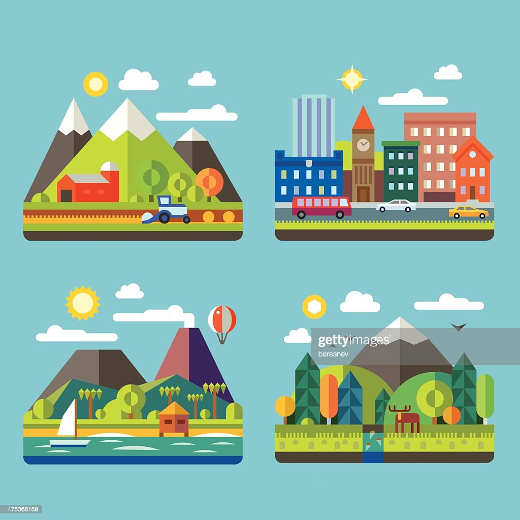 Color vector flat  illustrations urban and village landscapes