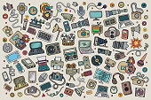Color vector hand drawn Doodle set of equipment and devices