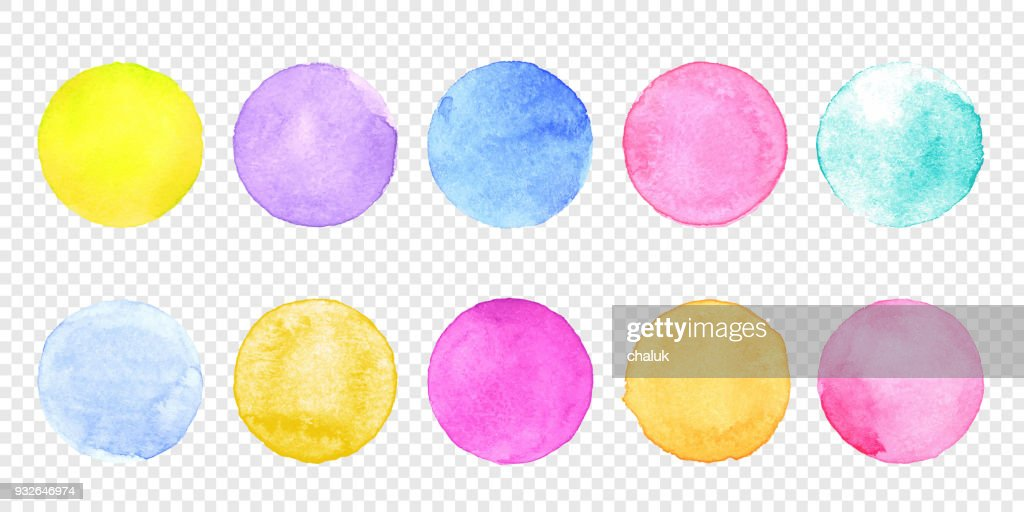 Color watercolor circle set. Vector smear watercolour splash stain on transparent background.