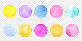 Color watercolor circle set. Vector smear watercolour splash stain on transparent background.