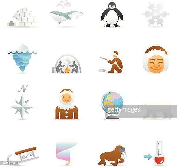 illustrations, cliparts, dessins animés et icônes de icônes de couleur web-arctic - igloo