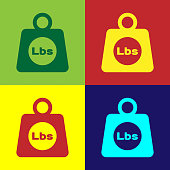 Color Weight pounds icon isolated on color backgrounds. Pounds weight block for weight lifting and scale. Mass symbol. Flat design. Vector Illustration