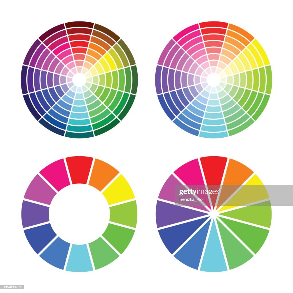 RGB color wheel 12 color,  set on white background