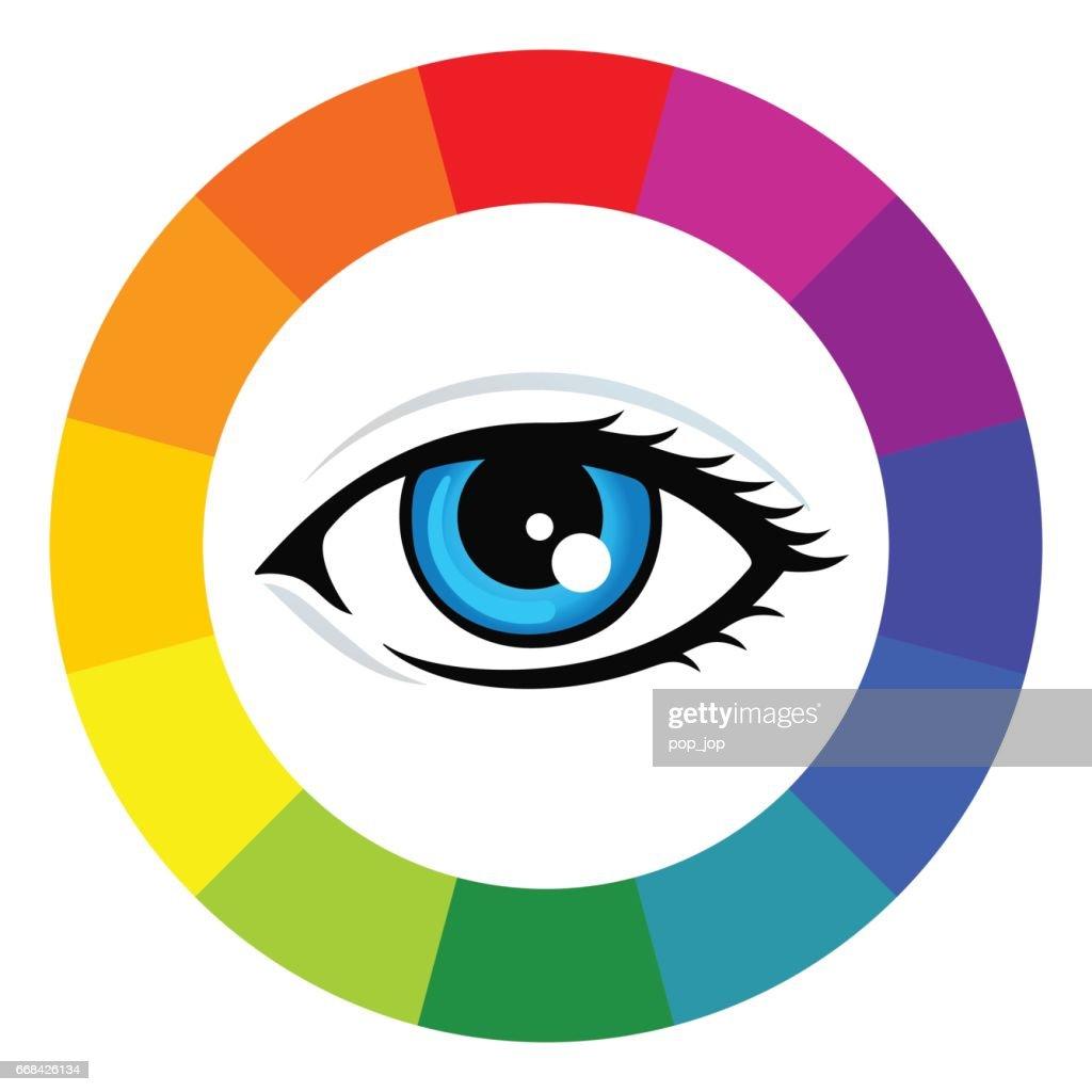 Color wheel and eye - illustration