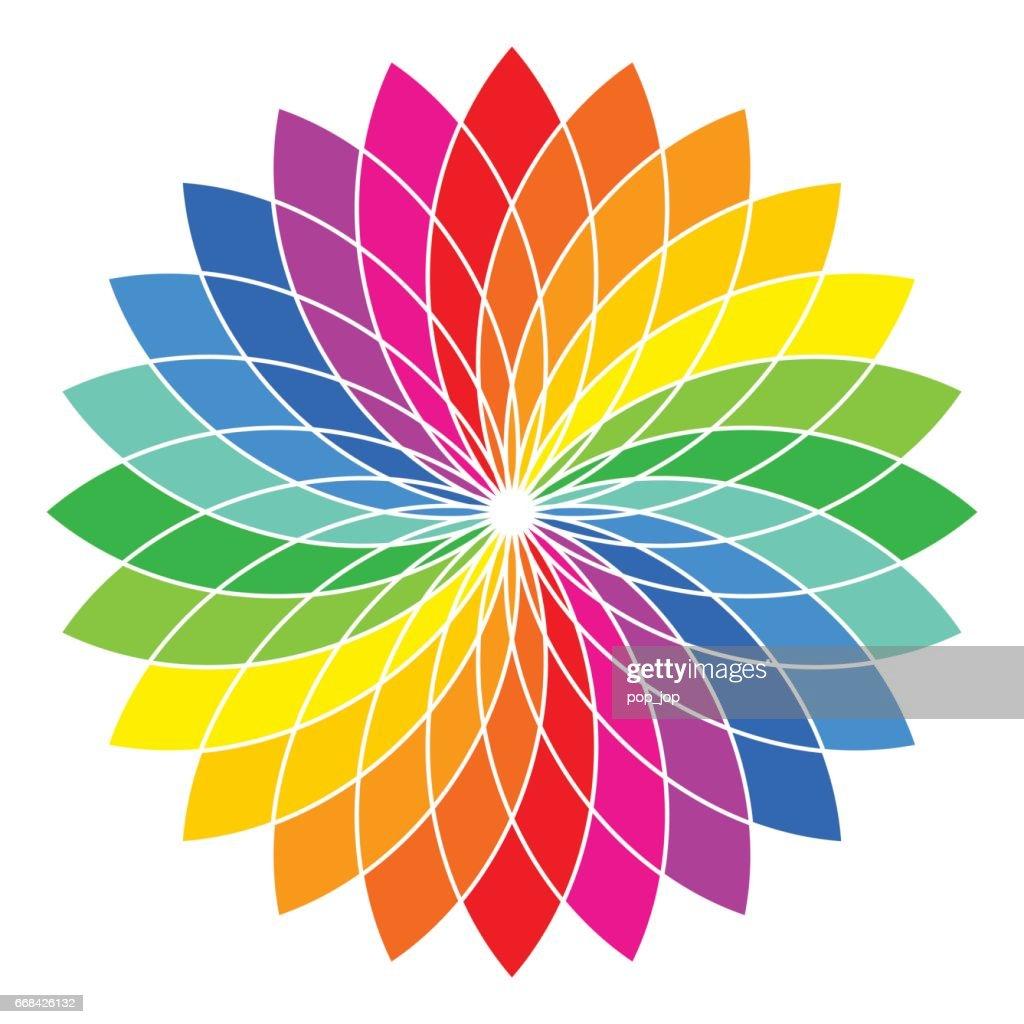 Color Wheel Flower Illustration Vector Art