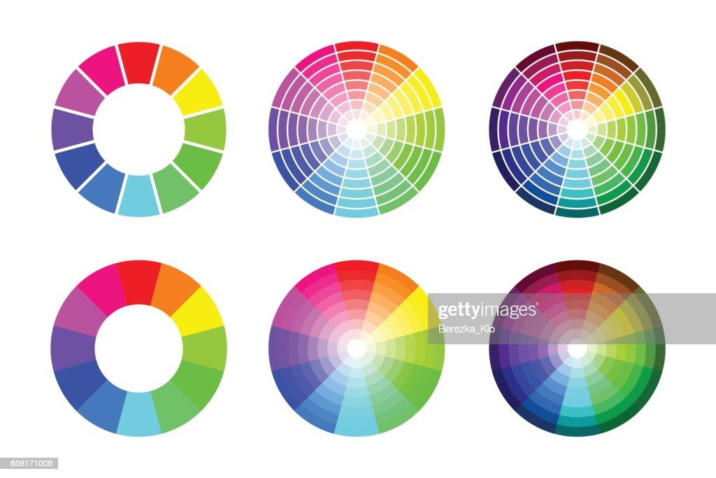 Color wheel from 12 color rgb, vector set