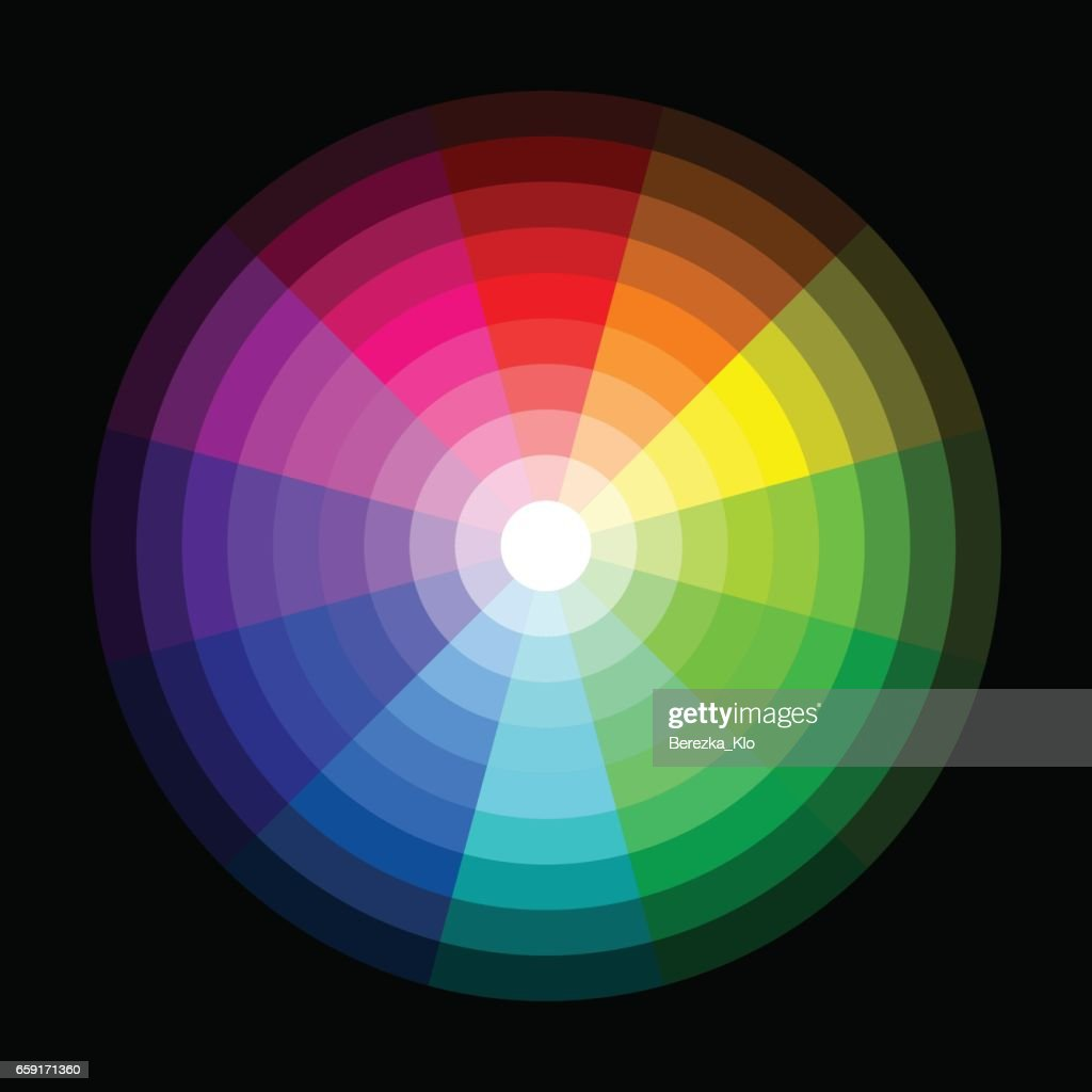 RGB color wheel from dark to light on black background