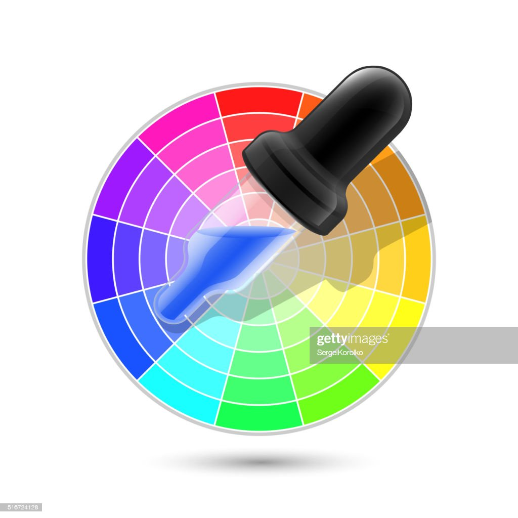 Color wheel palette and dropper icon