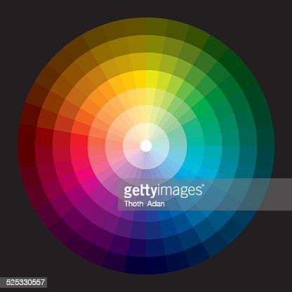 Color Wheel With Graduation From White To Black Vector Art