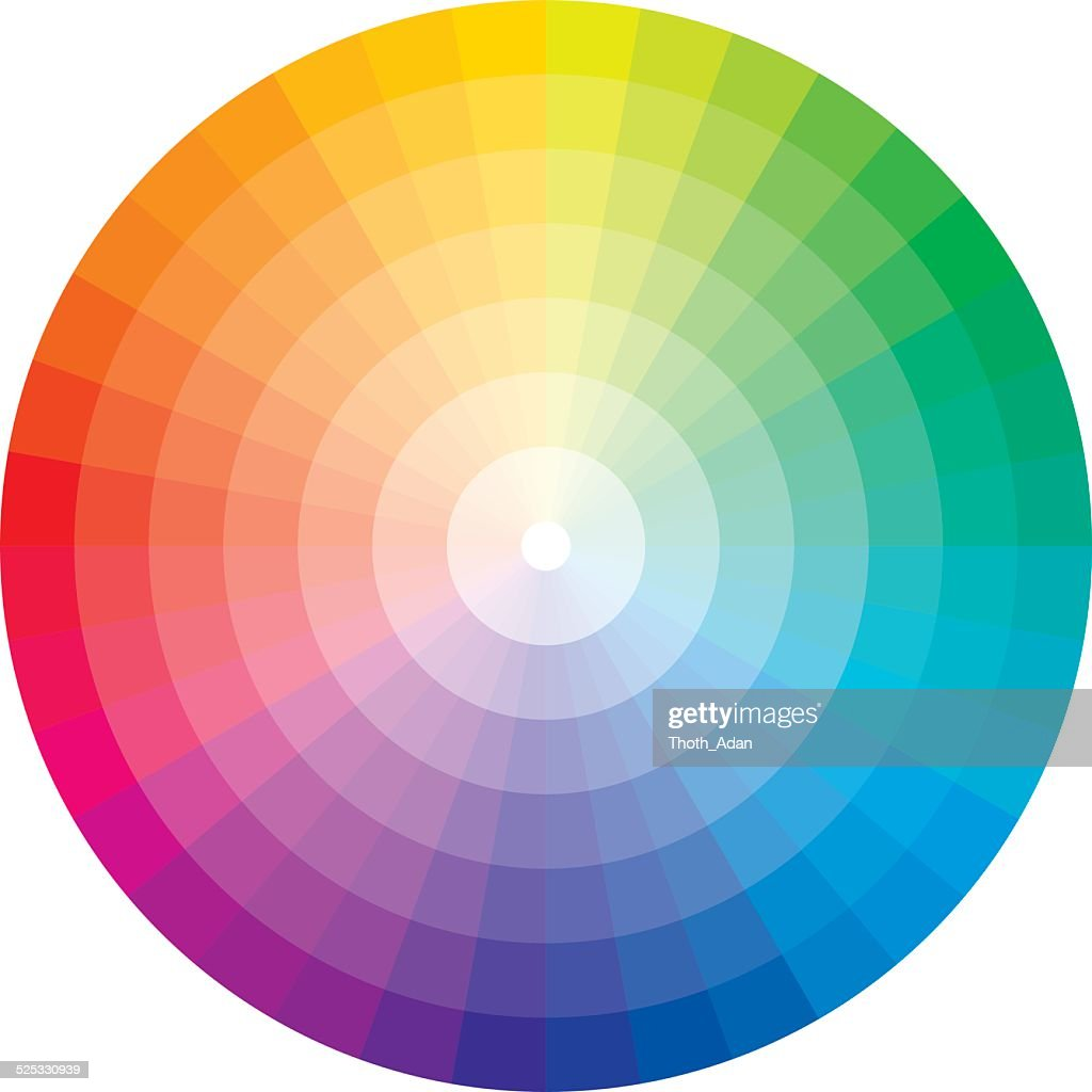 Color Wheel With Graduation To White Vector Art Getty Images