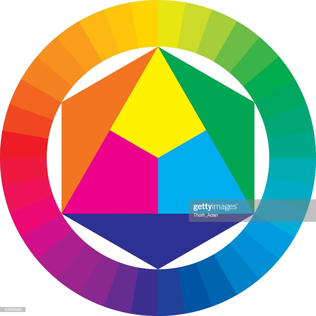 Color Wheel With Primary And Secondary Colors Vector Art