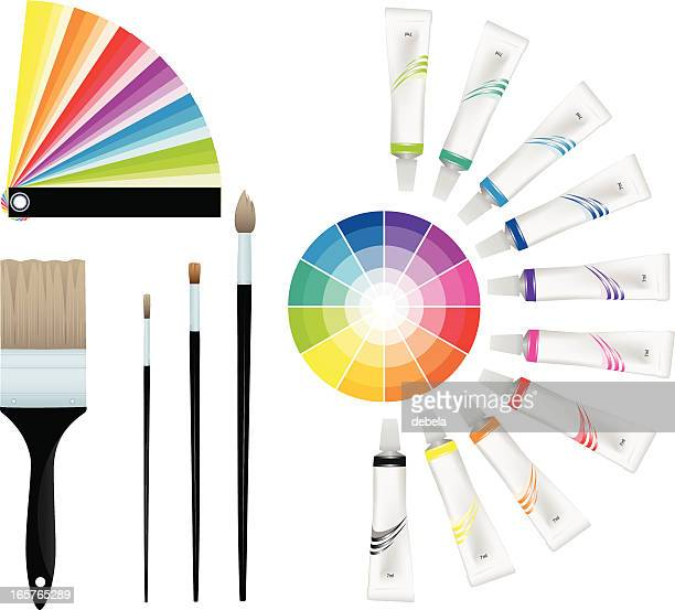 color wheels with paints and brushes. - tempera painting stock illustrations