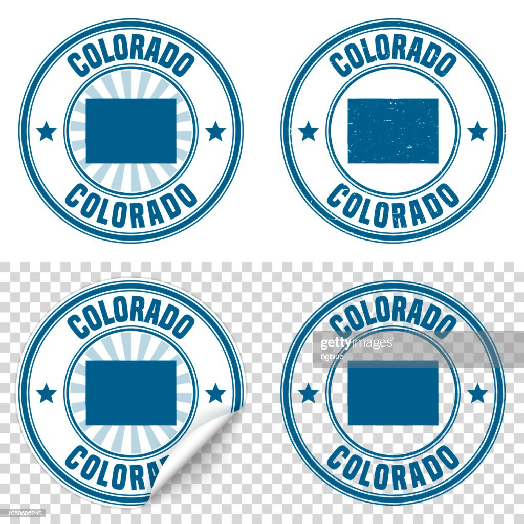 Colorado Blue Sticker And Stamp With Name Map Vector Art