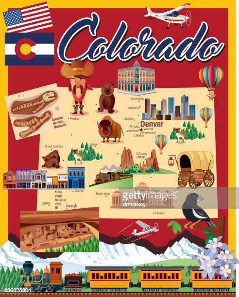 colorado cartoon map - colorido stock illustrations
