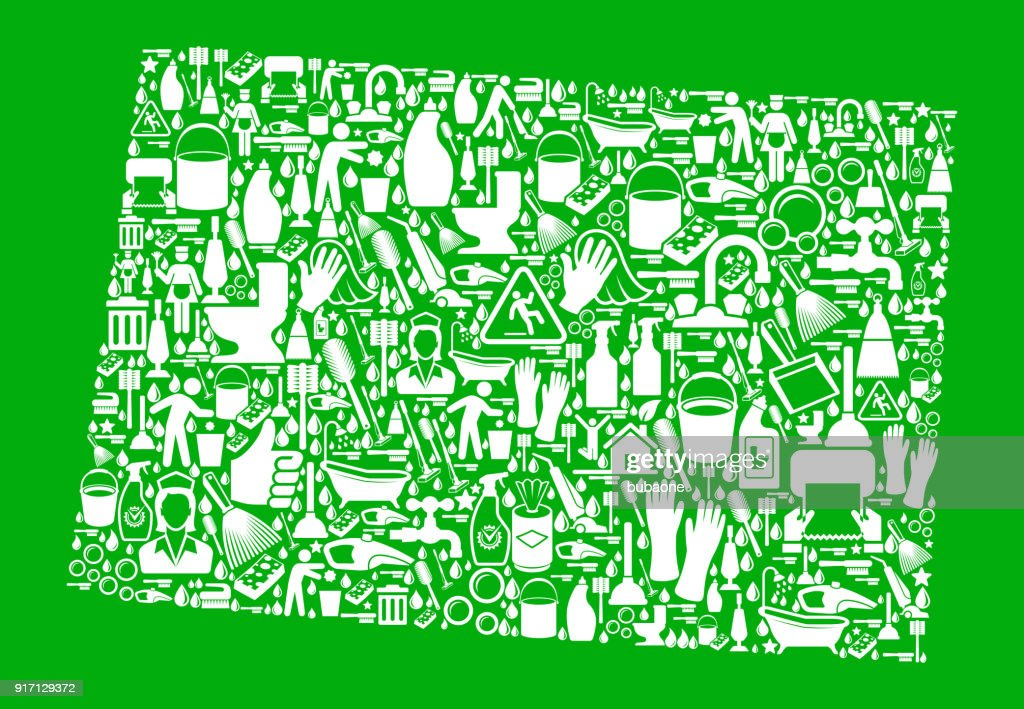 Colorado Cleaning and Chores Green Vector Icon Pattern : stock illustration
