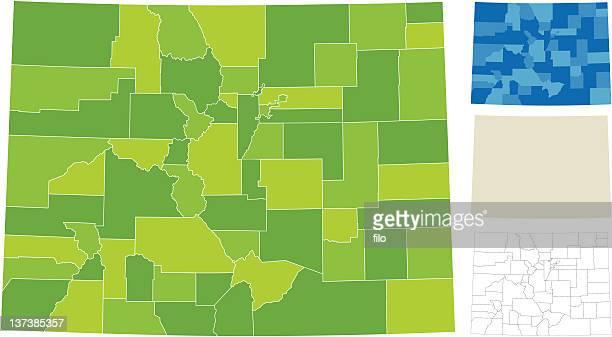 stockillustraties, clipart, cartoons en iconen met colorado county map - colorado