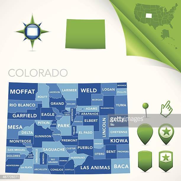 colorado county map - colorido stock illustrations