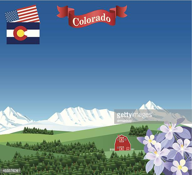 colorado forest and mountains - colorido stock illustrations