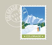 Colorado postage stamp design. Skiing in rocky mountains.