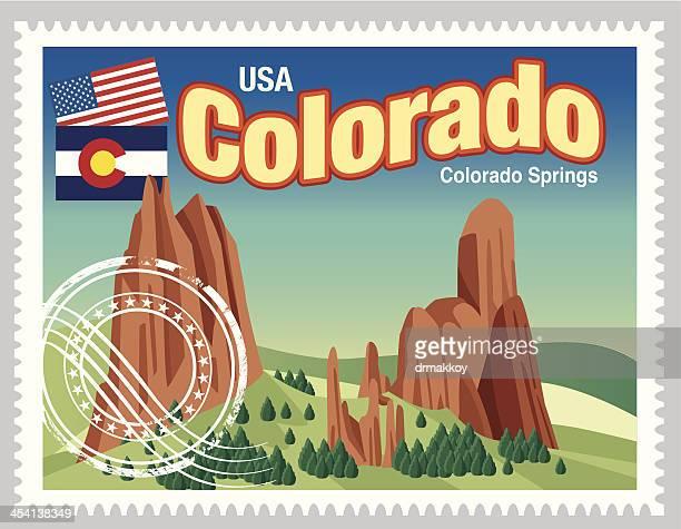 colorado stamps - colorido stock illustrations