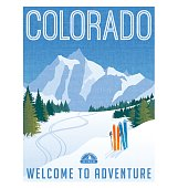 Colorado travel poster. Vector illustration of skiing in rocky mountains.