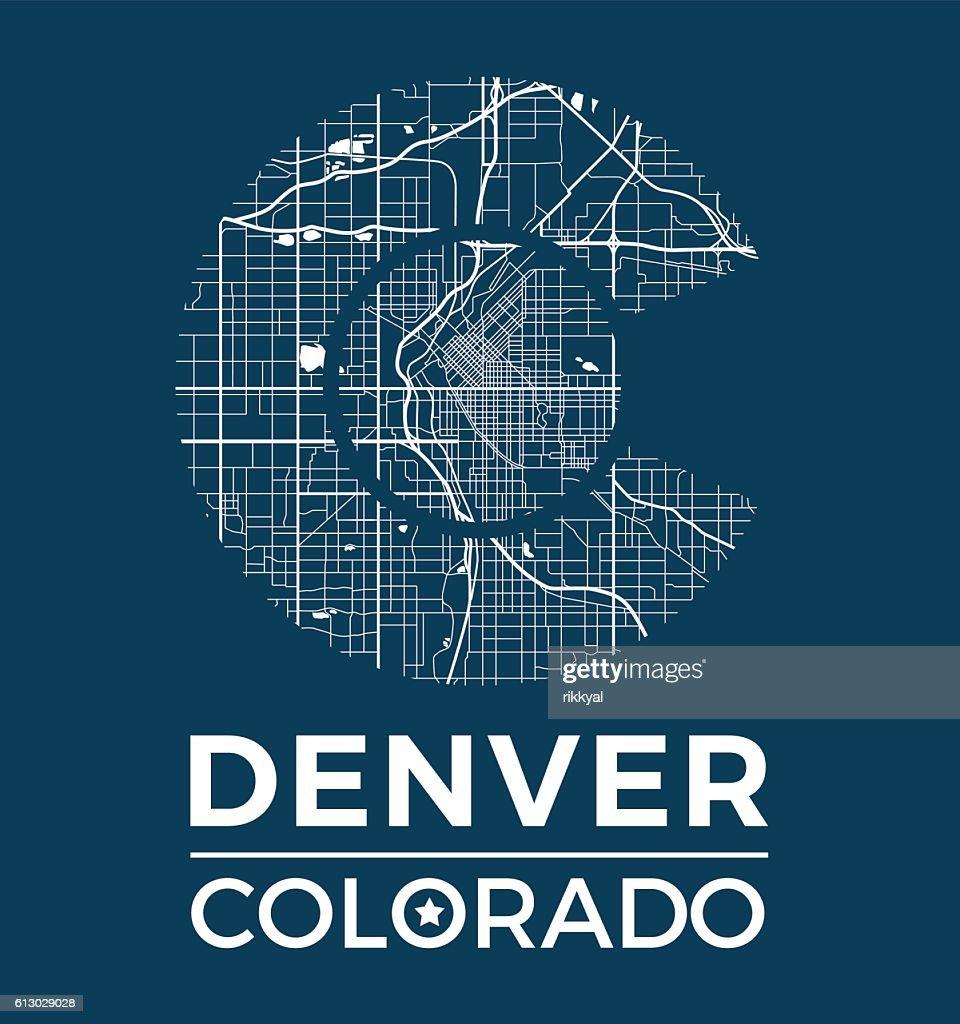 Colorado t-shirt graphic design with denver city map.