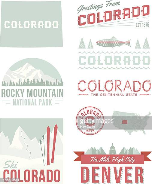 colorado typography - colorado stock illustrations