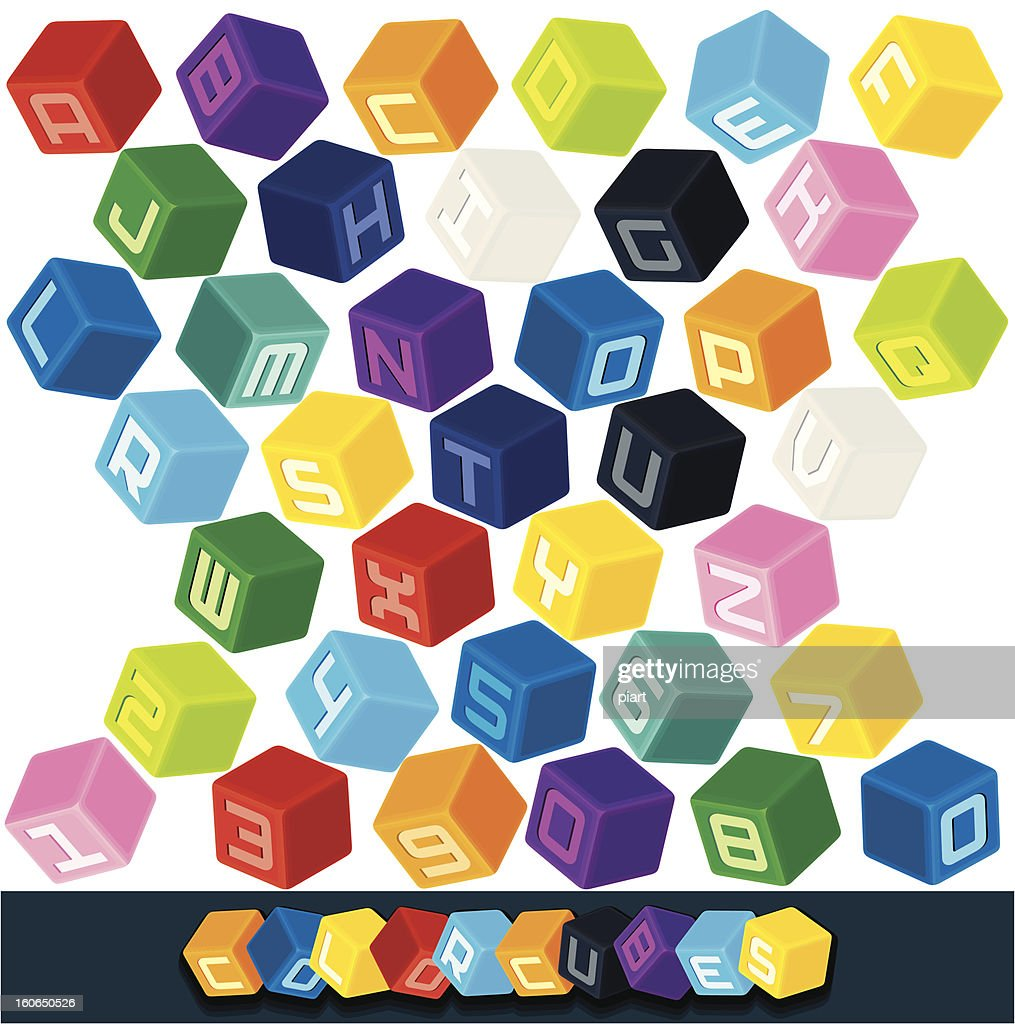 Colored ABC Cube Blocks. Vector Clip Art