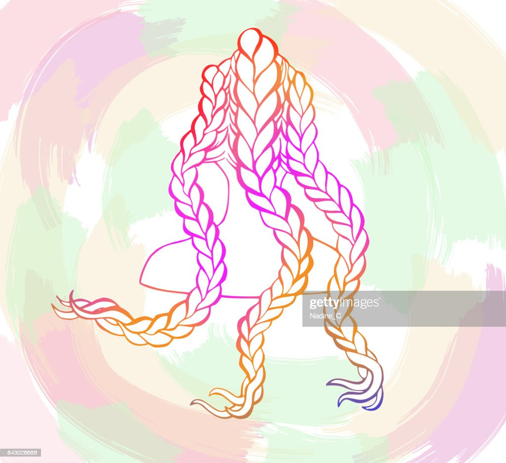 Colored African Or Boxer Braids Sketch Style Concept Trendy Hairstyle Design Template For Hairdresser Or Hair Studio Beauty Salon Banner Poster Flyer Colorful Background High Res Vector Graphic Getty Images