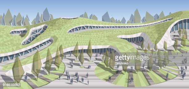 colored architecture illustration - natural parkland stock illustrations, clip art, cartoons, & icons
