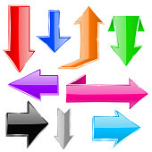 Colored arrows set. Shiny icons