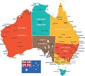 Colored Australia Map