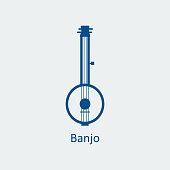 Colored Banjo icon. Silhouette vector icon