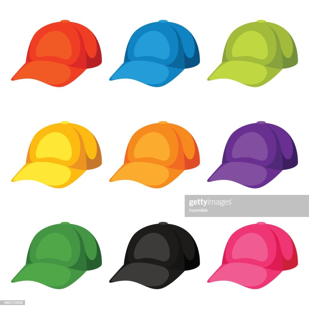 colored baseball caps templates set of promotional and advertising