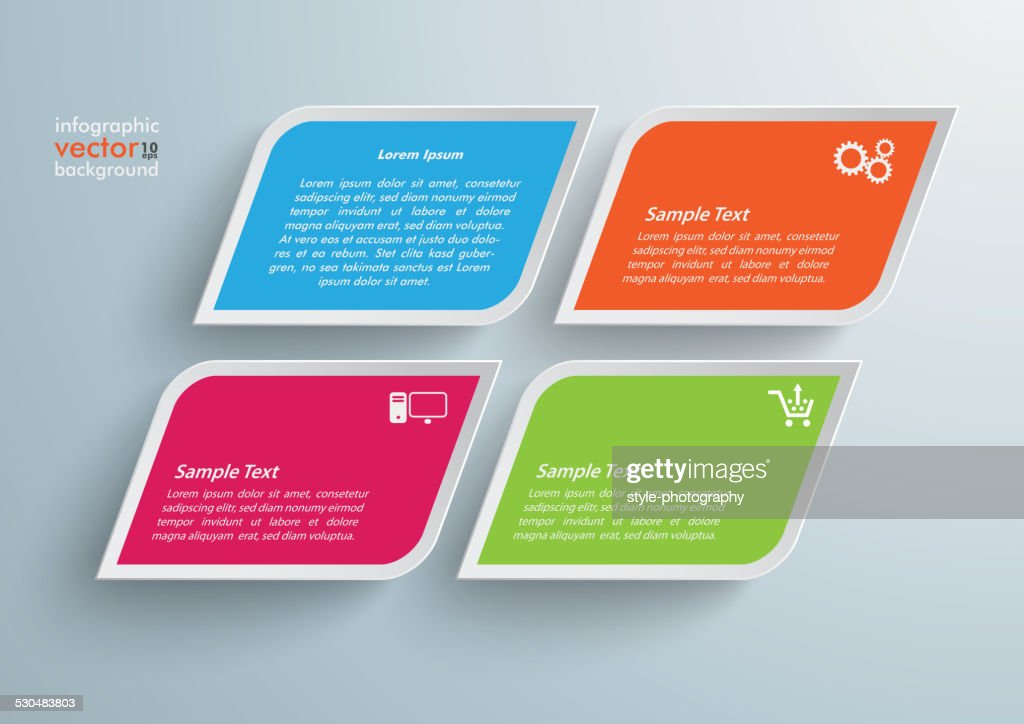 4 Colored Bevel Squares Infographic
