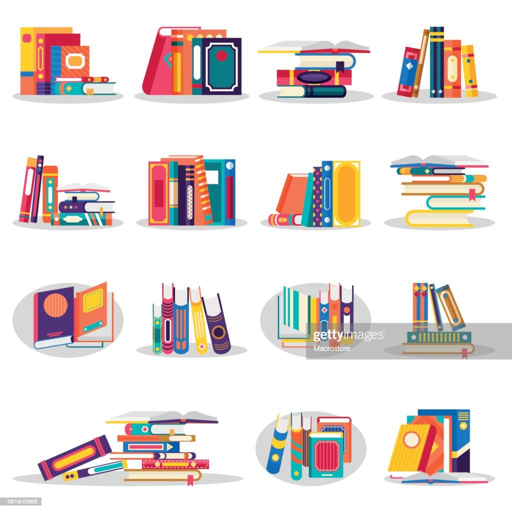 Colored books icons set in flat design