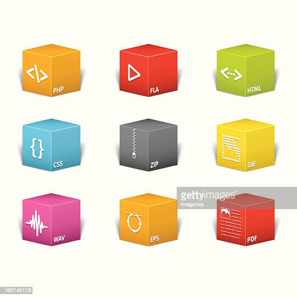 Colored Boxes Icons - File Extensions